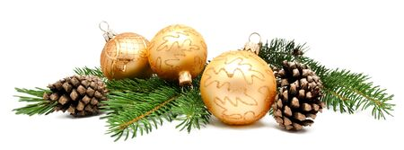 fir cones: Christmas decoration balls with fir cones and fir branches isolated on a white background