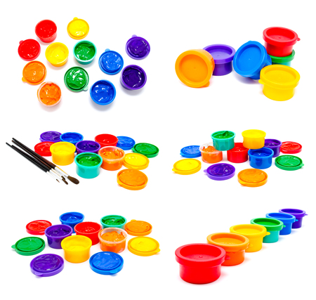 finger paint: Collection of photos children finger paint isolated on a white Stock Photo