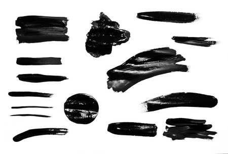 stroke: Paint brush strokes texture black watercolor isolated on a white background