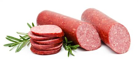 salame: Smoked sausage salami isolated on a white background Stock Photo