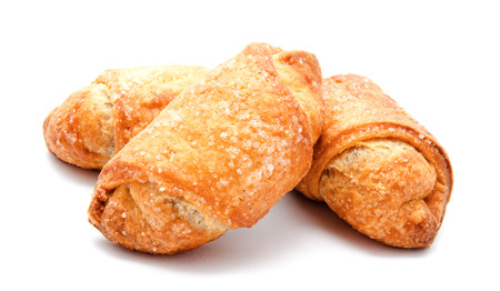 pastry: Fresh puff pastries isolated on a white background Stock Photo