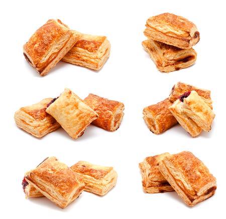 pasteles: Colección de fotos hojaldres frescas aisladas sobre un fondo blanco Foto de archivo