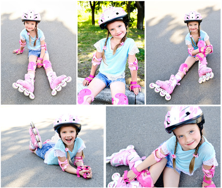 rollerskates: Collection of photos cute smiling little girl in pink roller skates and protective gear outdoor