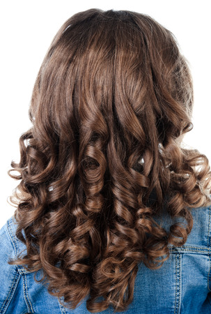 ringlets: Little girl with perfect hairstyle curl hair isolated on a white