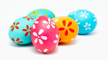 christian religion: Perfect colorful handmade easter eggs isolated on a white