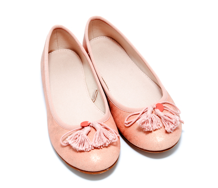 pink shoes: Girl pink shoes isolated on a white background