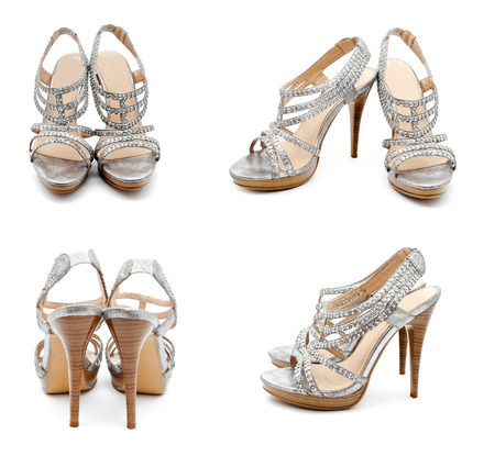 heel strap: Collection of photos silver high heel women shoe isolated on white a background Stock Photo