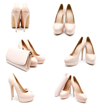 biege: Collection of photos biege high heel woman shoes and clutch isolated on a white Stock Photo