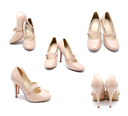 biege: Collection of photos biege high heel woman shoes isolated on a white