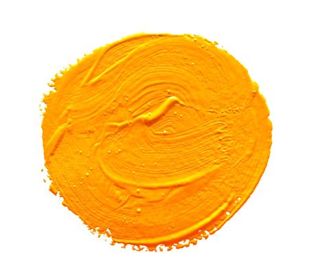 ochre: Ochre round strokes of the paint brush isolated on a white Stock Photo