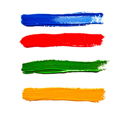 Four different colors strokes of the paint brush isolated on a white Stock Photo