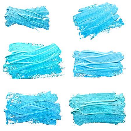 Colección de fotos turquesas trazos azul claro de la brocha aislado en un blanco Foto de archivo - 67092636