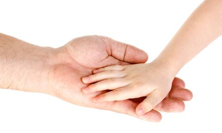Fathers hand holding child hand isolated over white