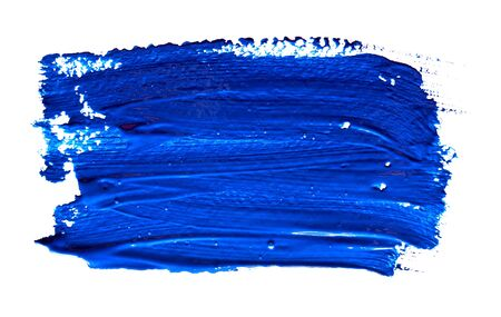 Blue strokes of the paint brush isolated on a white