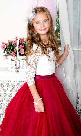 Adorable smiling little girl child in princess dress standing near the window photo