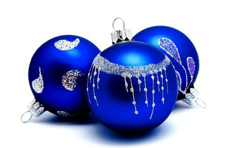Christmas decoration blue balls  isolated on a white background