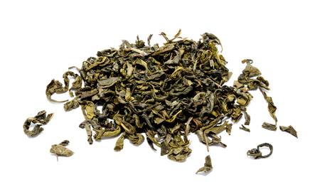 Heap of chinese green tea isolated on a white background Фото со стока