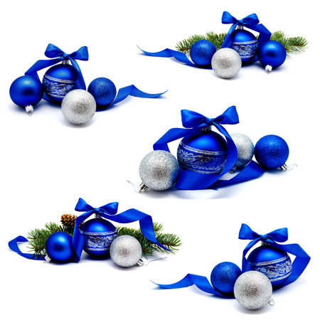 Collection of photos christmas decoration blue and silver balls with fir cones ribbon and fir tree branches
