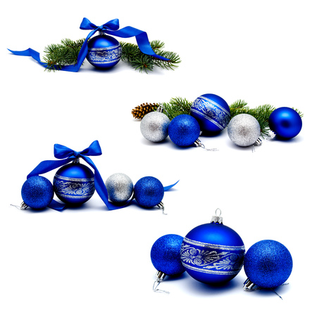 Collection of photos Christmas decoration blue and silver balls with fir cones ribbon and fir tree branches Stock Photo