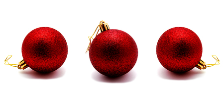 Collection of photos christmas decoration red ball  isolated on a white background Stock Photo