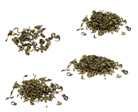 Collection of photos heap of chinese green tea isolated on a white