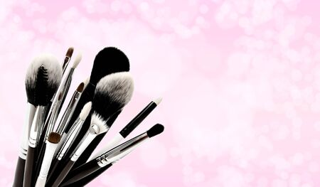 Various set of professional makeup brushes isolated over pink Stock Photo