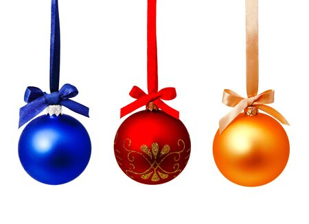 Perfect hunging red blue and gold yellow christmas balls isolated on a white background Banco de Imagens - 132111874
