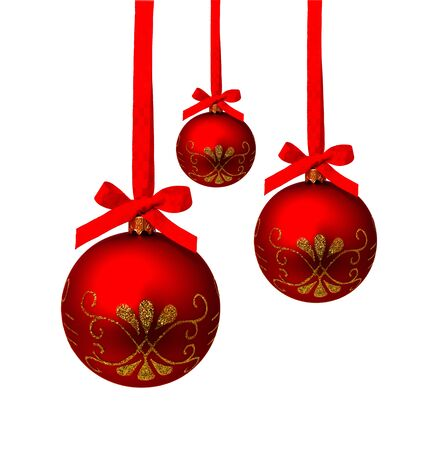 Perfect hunging red christmas balls isolated on a white background Banco de Imagens - 132111863