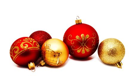Christmas perfect decoration red and gold yellow balls isolated on a white