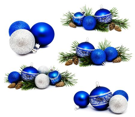 Collection of photos Christmas decoration blue and silver balls with fir cones and fir tree branches isolated on a white background  Stock Photo