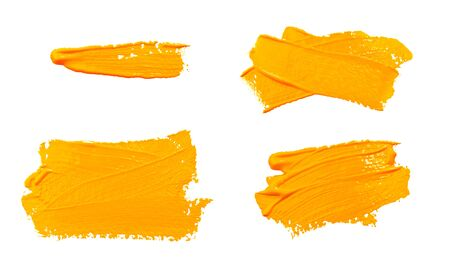 Collection of photos paint brush stroke texture ochre yellow watercolor isolated on a white background