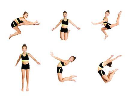 Sammlung von Fotos flexible süße kleine Mädchen Kind Turnerin springen und Spaß haben isoliert auf weißem Hintergrund. Sport, Training, Fitness, aktives Lifestyle-Konzept