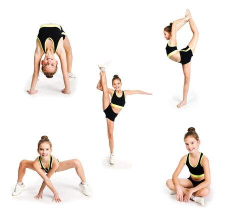 Collection of photos flexible cute little girl child gymnast doing acrobatic exercise isolated on a white