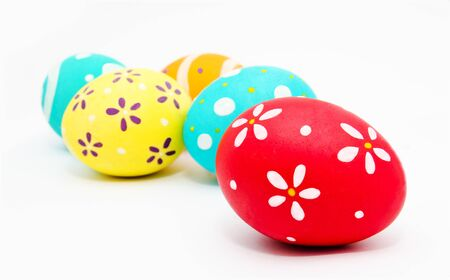 Perfect colorful handmade painted easter eggs isolated on a white