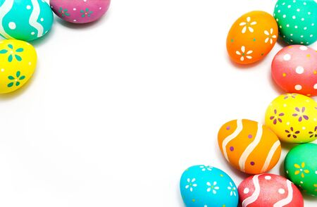 Colorful handmade painted easter eggs isolated on a white closeup Banque d'images