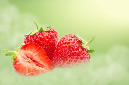 Perfect red ripe strawberry isolated on a summer background Stock fotó