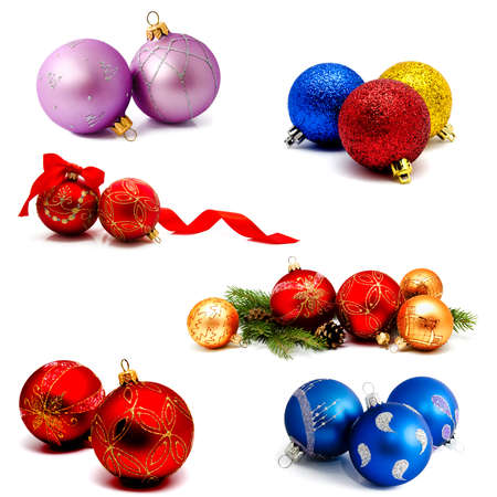 Collection of photos christmas decoration gold red blue lilac balls with fir cones and fir tree branches isolated on a white background