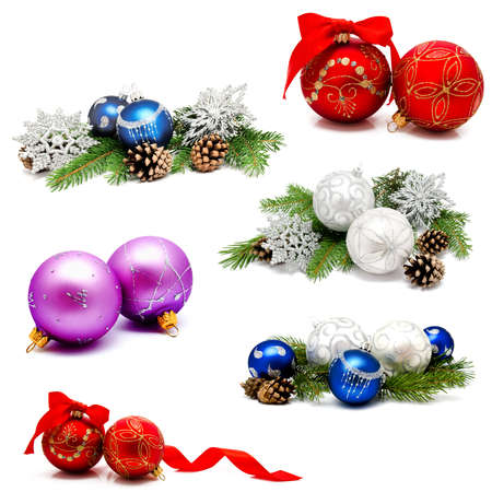 Collection of photos christmas decoration gold red blue silver balls with fir cones and fir tree branches isolated on a white background