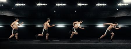 hombre flaco: Hombre corriente en un principio lleno en el fin de fina sobre la pérdida de peso Concepto de carreteras, el ejercicio