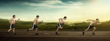 Running man at first full in the end of thin on road  Concept weight loss, exercise photo