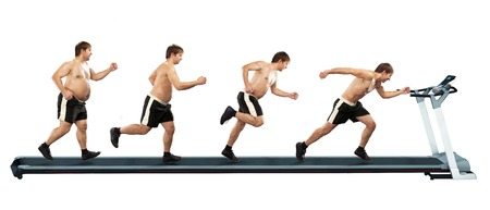 man exercise: Running man at first full in the end of thin  Concept weight loss, exercise  Isolated on white background