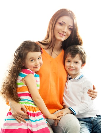 Portrait of children with her mother  Spring, March 8, International Womens, Mothers day, holiday, happy family  Isolated white