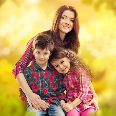 Portrait of children with her mother  Spring, March 8, International Womens, Mothers day, holiday, happy family photo