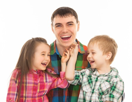 Portrait of joyful father with his son and daughter  Isolated on white background  Fathers day, family holiday, vacation Stock Photo