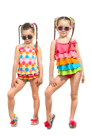 frendship: Fashionable kids in swimsuit. Isolated on white background. Summer, friendship concept. Stock Photo