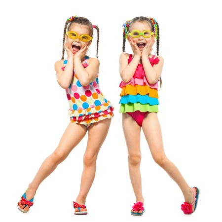frendship: Fashionable kids in swimsuit. Isolated on white background. Summer fashion, friendship concept.