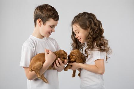 cocker: Children with puppys isolated on white background. Kid Pet Friendship