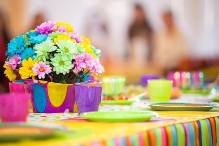 birthday decoration: Serving colorful table with decoration for child birthday