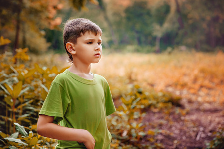 Outdoor portrait of a cute serious boy.