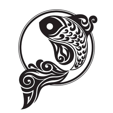 graphically: black and white drawing of a fish on a contrasting background circle
